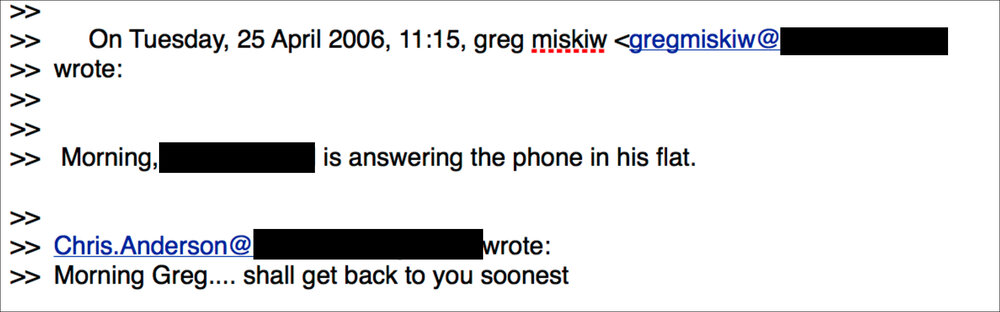 Greg Miskiw and Chris Anderson's email correspondence.