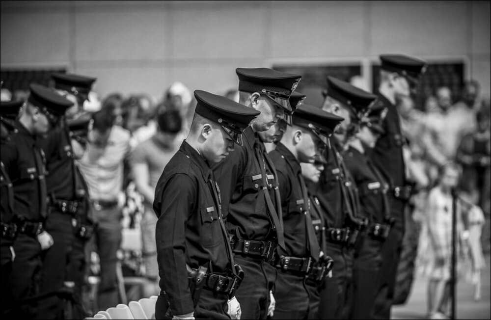 """""""New LAPD graduates hold a moment of silence for the officers lost in the Dallas shooting during their graduation"""