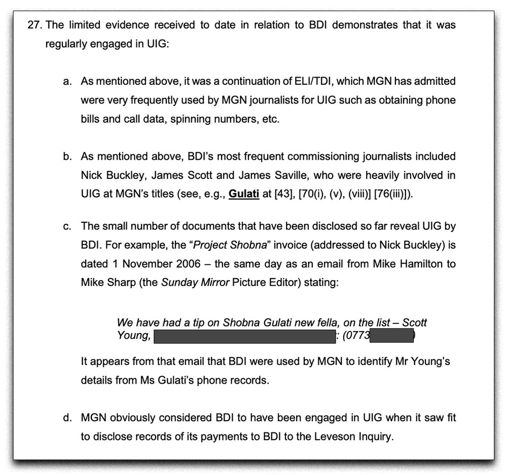 Disclosure:  Emerging evidence exhibited by Claimants' lawyers alleges extensive criminality at MGN went on beyond 2006, as the company claimed at the 2015 'Gulati' phone hacking trial