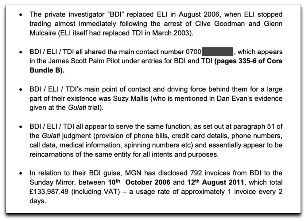 Beyond circumstantial : How allegedly illegal private investigators changed their name and carried on, according to the witness statement of Claimants' lead solicitor James Heath