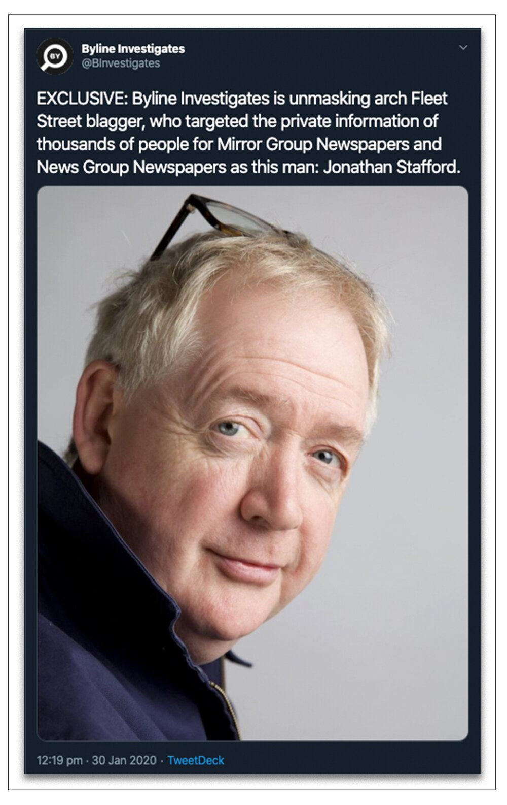 Revealed:  How we unmasked Jonathan Stafford in January