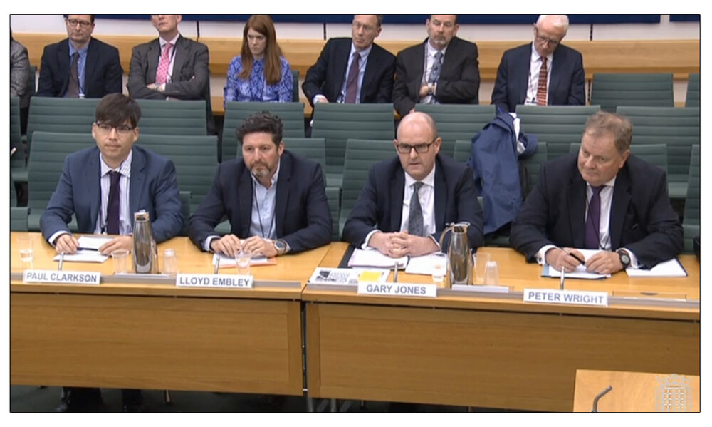 Powerful:   Daily and Sunday Express  Editor-in-Chief Gary Jones (middle right) addressing a House of Commons Home Affairs Committee Inquiry on hate crime in 2018, along with other senior Fleet Street figures Managing Editor  The Sun  Paul Clarkson, Group Editor-in-Chief Trinity Mirror Lloyd Embley, and Editor Emeritus Associated Newspapers Peter Wright (c) PA