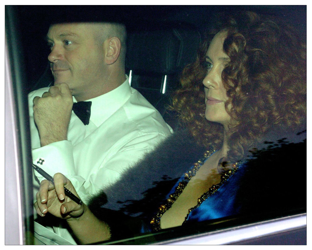 Ross Kemp  and Rebekah Wade arrive at the Hertfordshire home of England captain David Beckham and his wife Victoria for their pre-World Cup party in May 2006