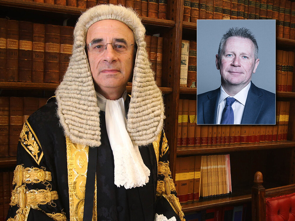 Power players:  Lord Justice Leveson and (inset) Lord Black of Brentwood