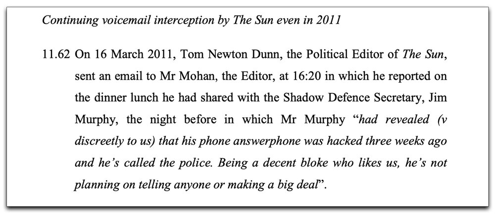 Excerpt:  Tom Newton-Dunn is mentioned in the legal case Various vs News Group Newspapers