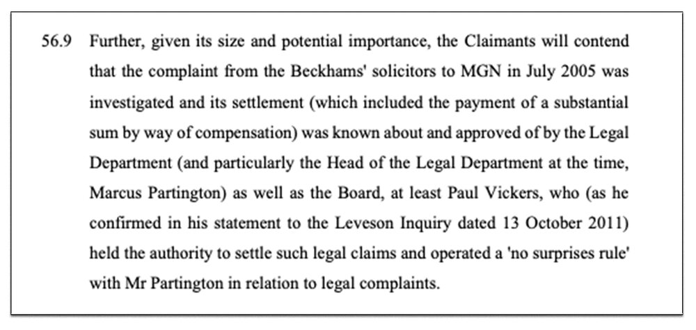 Extract:  part of the legal filing MGN must now defend at a trial set for January 2021