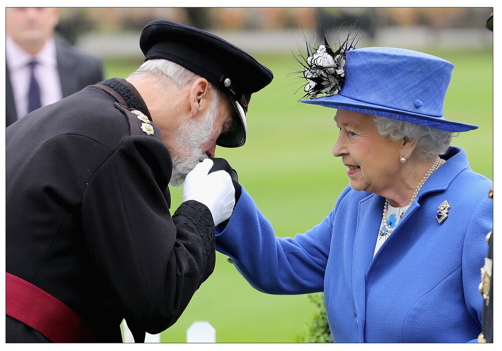 Family:  Queen Elizabeth II greets Prince Michael of Kent in 2016 as she arrives for a visit to the Honourable Artillery Company in London, during which a bronze bust of herself was unveiled to celebrate the the monarch becoming longest serving Captain-General of the military unit. (c) Chris Jackson/PA Archive/PA Images
