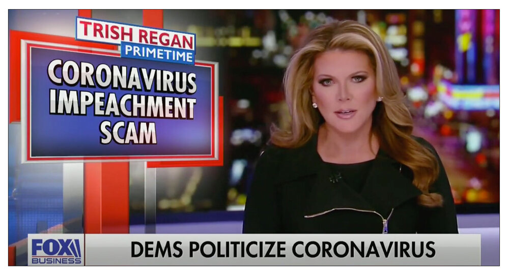 Scam claim: Trish Regan parted company with Fox shortly after this broadcast on March 9