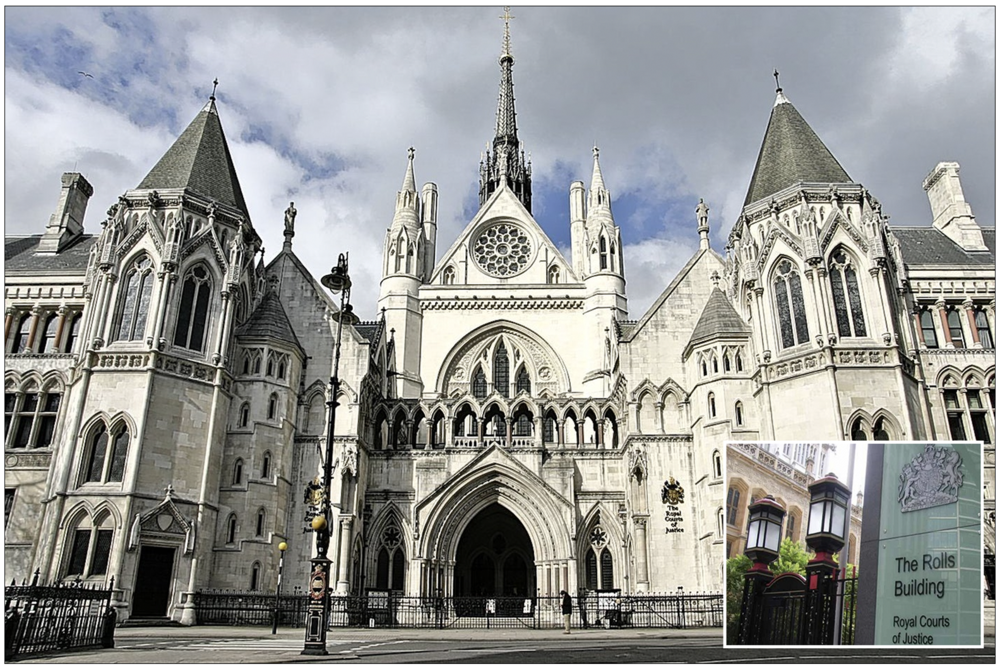 The Royal Courts of Justice in London (inset) The Rolls Building, where today's court hearing will take place
