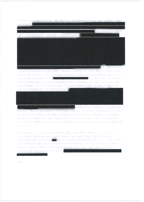 Pages of Meghan Markle's letter to her father with omitted sections blacked out, from her Particulars of Claim