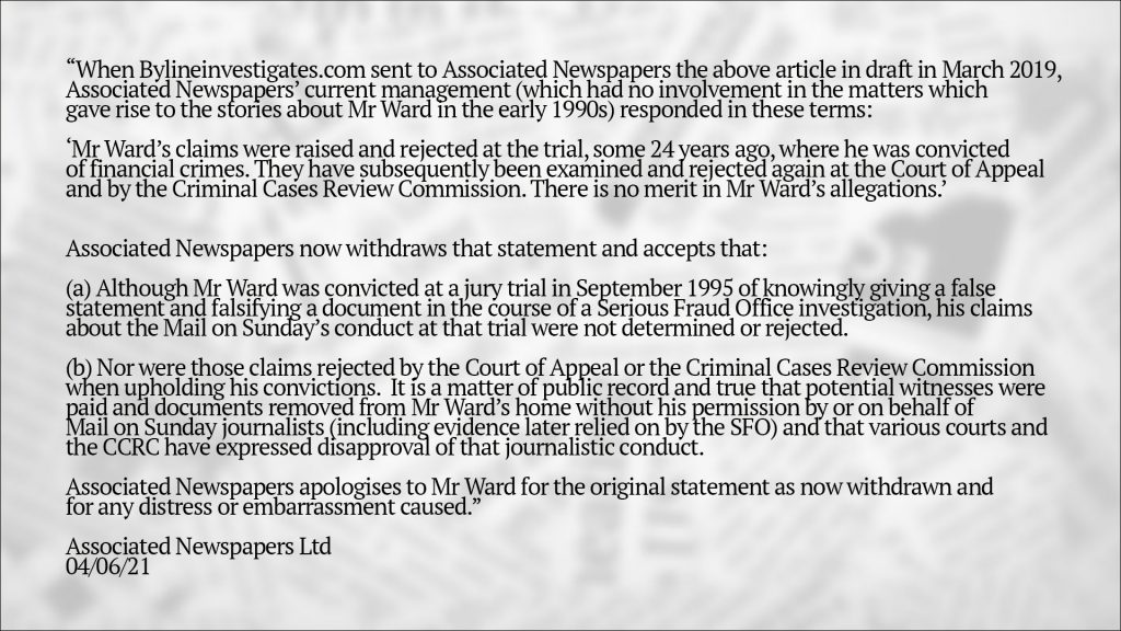 Associated Newspapers Ltd's official statement following their settlement with Mr Ward in May 2021