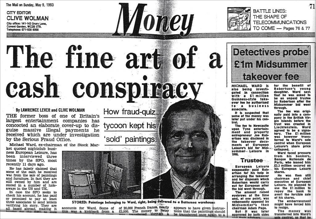 'The fine art of a cash conspiracy' By Lawrence Lever and Clive Wolman for The Mail on Sunday, May 9, 1993